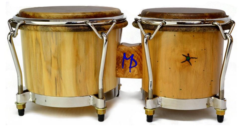 Mini maple bongos with olivewood bridge